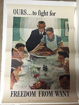 GENUINE ORIGINAL Norman Rockwell World War 2 Poster Four Freedoms (From Want)