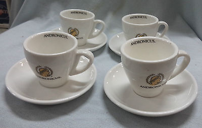 #ii.  Four Small Andronicus Coffee  Advertising Ware Small Cups & Saucers