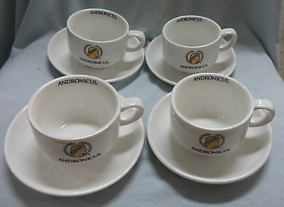 #ii.  Four  Andronicus Coffee  Advertising Ware Small Cups & Saucers