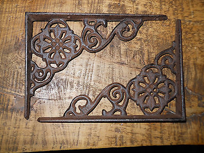 4 Cast Iron Antique Style Web  Brackets, Garden Braces Shelf Bracket