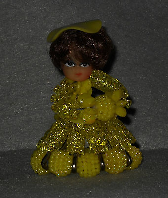 "Vintage Bead & Safety Pin Doll  Yellow Brown Hair Handmade 9.5cm/3 3/4"" tall"