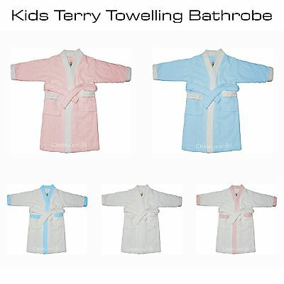 100% Cotton Kids Children Terry Towelling Bathrobe Bath Robe Dressing Gown