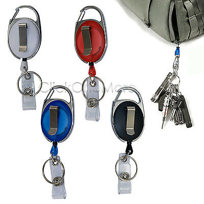 Retractable Pull Chain ID Holder Reel Recoil Key Ring Belt Clip Pack of 2