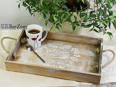 Home Sweet Home Wooden Serving Lap Bed Tray Vintage Kitchen Storage Rope Handles
