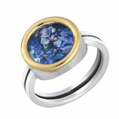 Deluxe Classic Sterling Silver 9K Gold Wire Blue Roman Glass Handmade Round Ring