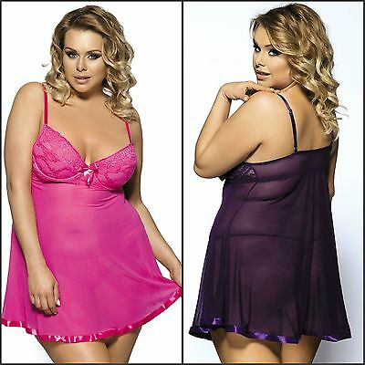 New Plus Size Women's Underwired Lace Overlay Babydoll Lingerie G-string Set