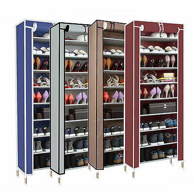 New Dustproof 10 Tier Shoes Cabinet Storage Shoe Rack Stand Holds 27 Pairs