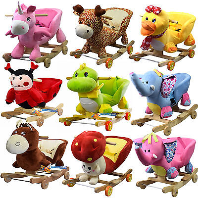 2 in 1 Baby Musical Rocking Animal Horse Ride On Rocker Chair & Walker Kids Toy