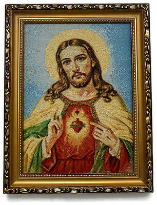 -Out Of Stock- Large Framed Embroidered Picture Jesus Christ Christian Art Reli