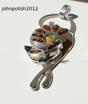 Lovely Baltic Amber Cat Pendant with Silver 925