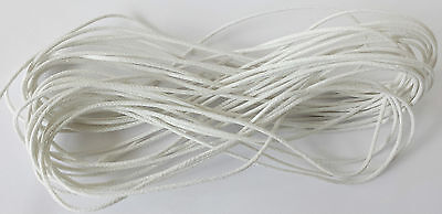 10mtr x 1.5mm Waxed Cotton Cord - WHITE- Craft Thong Thread String Laces