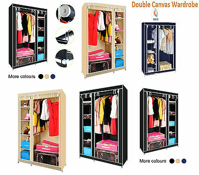 Double Canvas Wardrobe Cupboard Hanging Clothes Rail Bedroom Storage Shelves