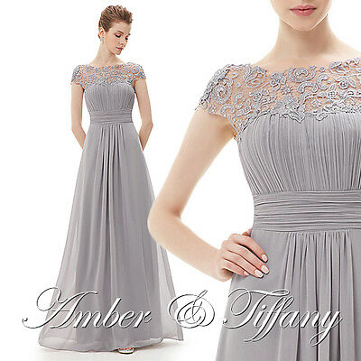 New Bridesmaid Formal Prom Long Maxi Gown Evening Party Grey Dress UK 6-18