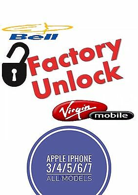 FACTORY UNLOCK IPHONE 3/4/5/6/S/PLUS/SE Bell/Virgin CANADA EXPRESS 1-36 HOURS