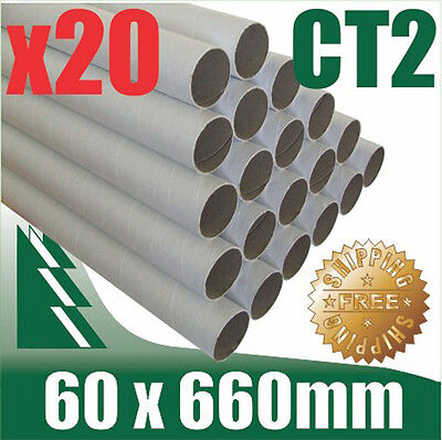 20 x Cardboard Mailing Tubes 60 x 1.5 x 660mm includes end caps BULK BUY