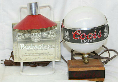 2 1980S Bar Lamps Lights Budweiser Coors Beer Brewery Lounge Decor Pub