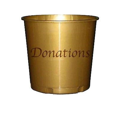 Large Plastic Gold Reusable Collection & Fundraising Donation Bucket (Pkg of 3)