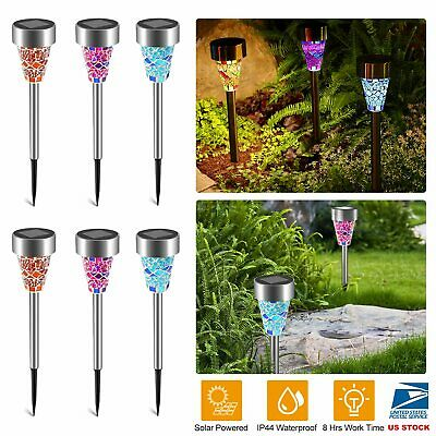 6pcs Outdoor Stainless Steel Led Solar Power Lights Lawn Landscape Path Light