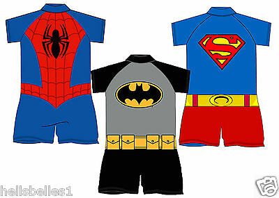 Official Batman,superman,spiderman All In One Sunsafe Swimsuit/costume 18M-5Yrs