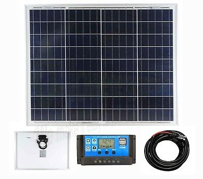 50w Poly Solar Panel Battery Charging Kit Charger Controller Boat Caravan HomeK1