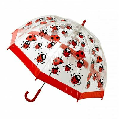 Bugzz Kids Stuff Children's Clear PVC Dome Fibreglass Rain Umbrella Ladybug New