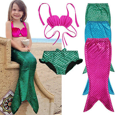 Girls Swimmable Mermaid Tail Monofin Bikini Beachwear Swimwear Costume 3PCS Set