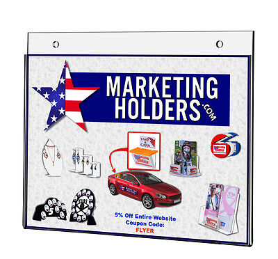 """Ad Frame Sign Holder Literature Horizontal Wall Mount 11"""" W x 17"""" H Lot of 4"""