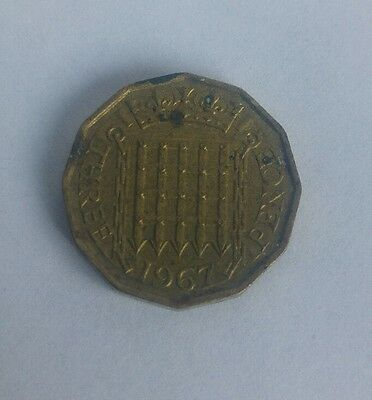 1967 Queen Elizabeth II brass threepence