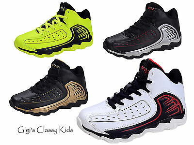 New Boys Girls Ankle High Top Sneakers Tennis Shoes Basketball Athletic Kids
