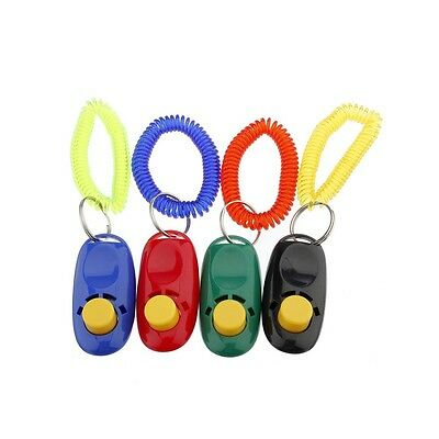 Pet Dog Button Click Clicker Trainer Training Aid Wrist Strap Guide