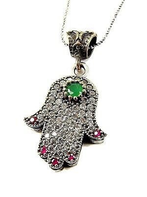 Hamsa Hand Evil Eye Pendant Necklace CZ Crystals Sterling Silver Jewelry Gift
