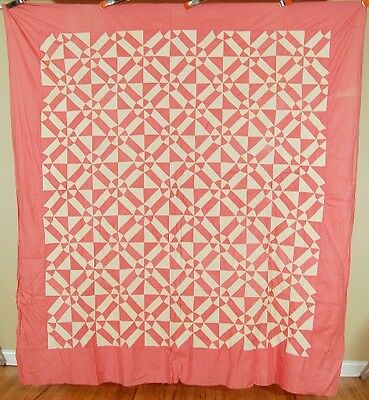 GRAPHIC 30's Vintage Dusty Rose Pink Rob Peter to Pay Paul Antique Quilt Top!