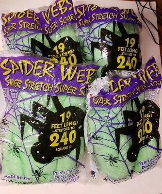 Halloween Decoration Green Spider Webs 4 Bags 19' stretches to 240 = 960 sq ft
