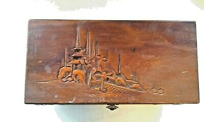 Vintage Hand Carved Wooden Chinoiserie Pagoda Jewelry Box
