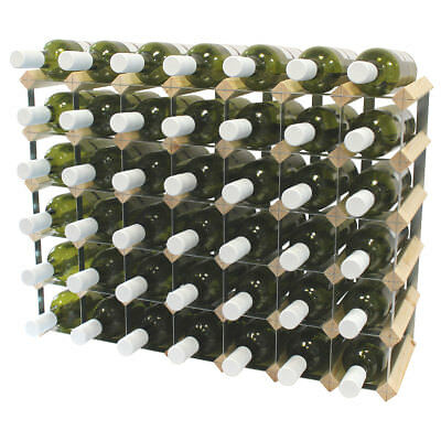40 Bottle Fully Assembled Wooden Wine Rack - Natural Pine & Galvanised Steel