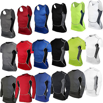 Men Compression Under Base Layer Top Running Skins Gym Casual Fitness T Shirts