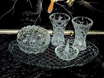 Beautiful & Elegant Vintage Crystal Dressing Table  Set Of 6 Pcs.  Bohemia