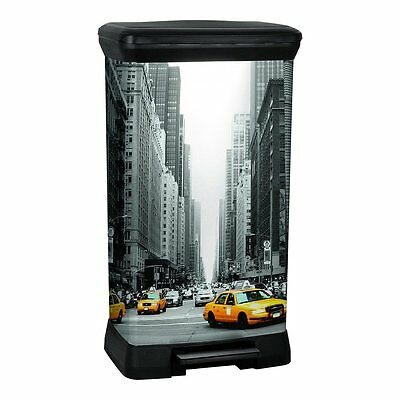 CURVER Pedal Deco Bin, Metal Effect, Decoration New York, 50 L,