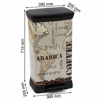 CURVER Pedal Deco Bin, Metal Effect, Decoration Coffee, 50 L,
