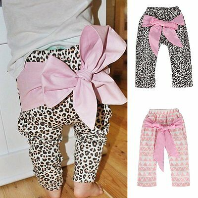 Toddler Kids Baby Boys Girls Bow Harem Pants Joggers Elastic Bottoms Trousers