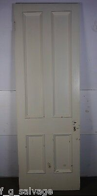 "Antique Vintage 4 Panel Interior Door 91-1/8"" X 31"" (O4) 1800's Local Pickup"