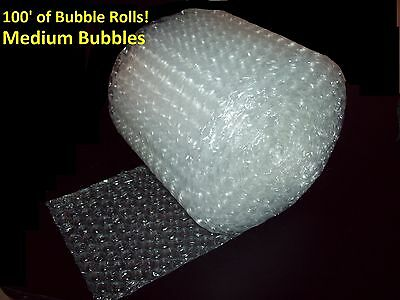 "100 Feet of Bubble® Wrap! 12"" Wide! 5/16"" MEDIUM Bubbles! Perforated Every 12"""