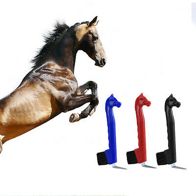 New Plastic Horse Head Shape Horse Hair Hoof Pick Cleaning Brush Grooming Tool