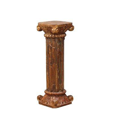 "36"" Tall Ira Bookstand Pillar Hand Carved Solid Wood Antique Vintage Columns"
