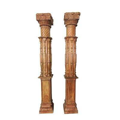 "84"" Tall Nicholas Wooden Pillar Set of 2 Hand Carved Antique Vintage Columns"