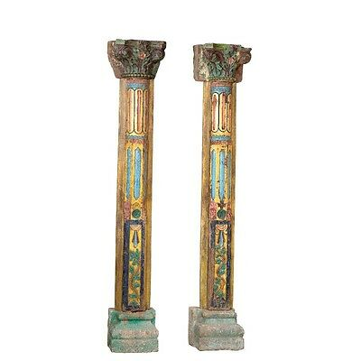 "89"" Iberia Wooden Large Old Antique Wood Carved Pillar Half Set of 2 Columns 89x"