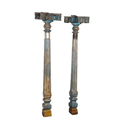 "97"" Tall Joni Wooden Pillar Set of 2 Hand Carved Antique Vintage Columns"