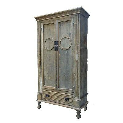 "86"" Tall Omar Cabinet Solid Reclaimed Wood Carved Vintage"