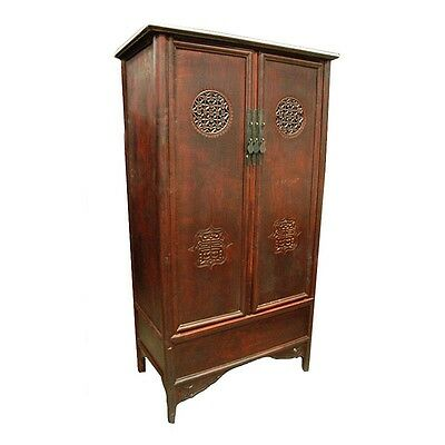 "71"" Tall Ruby Antique Cabinet Solid Wood Reclaimed Vintage Hand Carved"