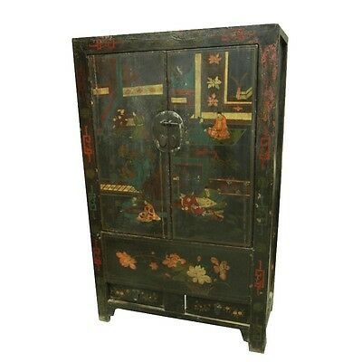 """77"""" Tall Kaitlyn Old Painted Cabinet 2Dr  Solid Wood Vintage Hand Carved Reclaim"""